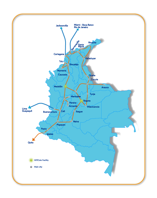 InterNexa coverage in Colombia